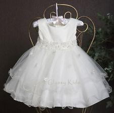 New Flower Girls Satin Tulle White Pink Ivory Dress First Communion Wedding Baby