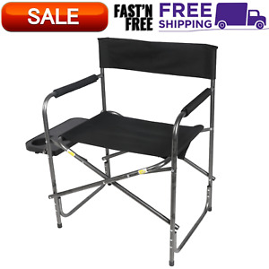 Ozark Trail Director's Chair with Side Table, Black, Camping, Outdoor, Foldable
