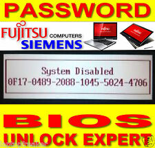 FUJITSU Stylistic Tablet reset UNLOCK Bios password hash codice 6x4 NEW Service