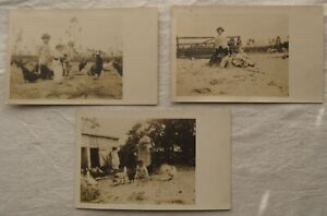 Lot of Vintage RPPC Postcards*Children* Chickens* Jack Russell Terrier dog*sepia