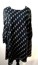 BB Dakota  Black Polka Dots  Metallic Print Long Sleeve Women Dress Size Xs