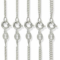 STERLING SILVER CURB CHAIN DIAMOND CUT FLAT LINK LONG PENDANT NECKLACE GIFT BOX