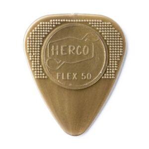 Herco FLEX 50 Medium Gold Nylon Guitar Picks / Plectrums   -   Pack of 12 picks