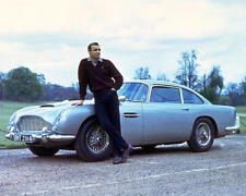 Sean Connery posing with Aston Martin DB5 Goldfinger 24x30 Movie Poster