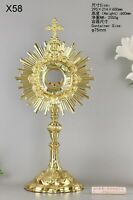 """Ornate Brass Monstrance With Luna Newly Finished for Church 23 3/5"""" High X58"""