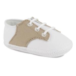 NIB Baby Deer White and Khaki Saddle Cloth Oxford Shoe Infant Size 2