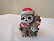 Homco Christmas Raccoons Figurine #5180