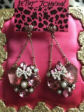 Betsey Johnson Fabulous Fuchsia Pink Lucite Crystal Gem Pearl Bow Heart Earrings