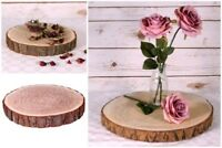 Natural Wood Log Slice Table Centrepiece or Tree Bark Wedding Cake Stand