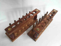 Set Of Two Wooden Test Tube Stand 6 Hole With Drying Rack Vintage Lab Equipment