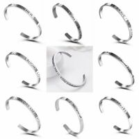 Stainless Steel Silver Engraved Letters Cuff Bangle Bracelet Family Gift Jewelry