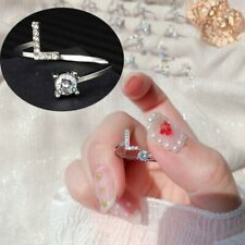 Hot Silver Letter L Ring Women Micro Zircon Knuckle Ring Finger Ring Adjustable