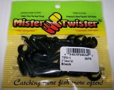"""50 pack 5"""" Twister Grub Black swirl with Red tail"""