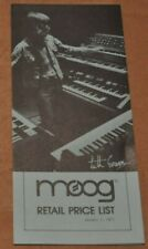 Moog Retail Price List vintage catalog booklet brochure.From 1977. Keith Emerson