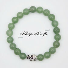 Silver Plated Elephant and Natural Green Aventurine Gemstone Beaded Bracelet