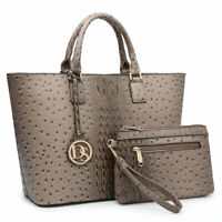 Women Fashion Ostrich Handbags Satchel Bag Large Tote w/ Matching Pouch Set