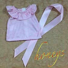 """For 15""""-18"""" Girl Doll Clothes PINK and WHITE SLEEVELESS SHIRT with Hair RIBBON"""