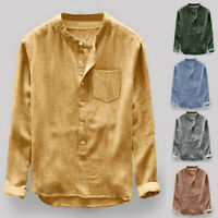 Men's Retro Loose Cotton Blends Shirts Fashion Stand Collar Long Sleeve Blouses