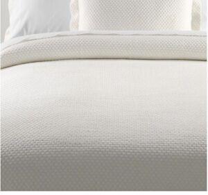 LL BEAN Organic Honeycomb Matelasse Bedspread Queen 100% Organic Cotton Sea Salt