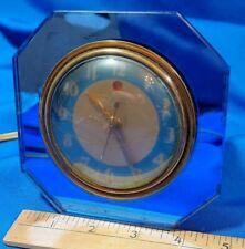 """Warren Telechron Electric Clock Blue Mirror Frame Art Deco Rare Early 5"""" Antique"""