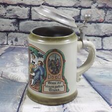 "Vintage Marzi Remy Germany Lidded Beer Stein ""Treat Yourself To A Good Drink"""