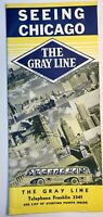 The Grayline Tour Seeing Chicago Map Fold Out Brochure 1983 Vintage Tourism IL