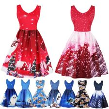 Plus Size Womens Santa Christmas Party Dress Vintage Xmas Swing Skater Dress UK