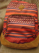 ROXY FAIRNESS BRIGHT COLORFUL/FAUX SUEDE BOTTOM SCHOOL BACKPACK NWT