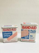 Vintage Johnson & Johnson Band-Aid  Bandages Hinged Top Tin Boxes