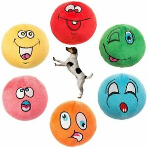 Dog Squeaky Toys Plush Balls Interactive Chew Toy 6 Pack Small Medium Dogs Ball