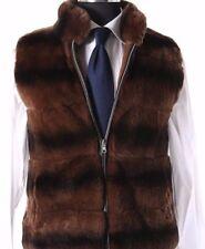 STUNNING Caramel Brown Genuine Fur Rabbit Reversible Gilet Vest Body Warmer HOT