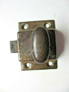 Dark Steel Transom Window Cabinet Door Spring Latch Lock Thumb Turn 1 Antique