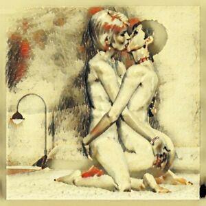 Lesbian Beautiful Nude Erotic Pin Up Art Prints Postcard Collectable