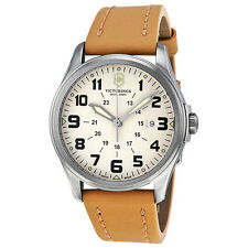 SWISS ARMY VICTORINOX IVORY DIAL DATE BROWN LEATHER STRAP MEN'S WATCH 241581 NEW