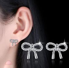 Ladies Fashion Jewellery 925 Sterling Silver Rope Tassel Bow-knot Stud Earrings