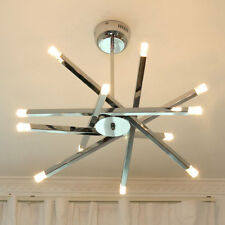 Modern Chrome Rod Star Pendant Lamp Ceiling Hanging Chandelier 12 Lights (White)