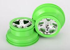 Traxxas 6875 Wheels Chrome Green Beadlock (2): Front & Rear 1/10 Slash 4wd