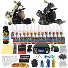 Complete Tattoo Machine Art Gun 28 Ink Foot Pedal Needle Grip Tip Starter Kit