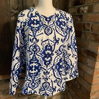 NEW $109 CHICO'S White Indigo Ink Blue Printed Alicia Jacket Top US 2 (L/12)