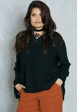 Ex Evans Black Lace Up Sweater Jumper Size 22/24 (EV19)