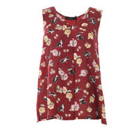 WEEKEND MAX MARA Vest Top Red Cat Flower Pattern Silk RRP £89 BG