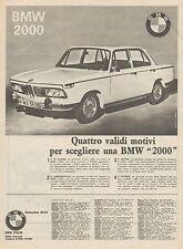 J0584 Automobile BMW 2000 - Pubblicità - 1966 Vintage Advertising