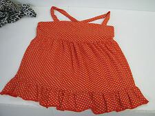 J. CREW Criss-Cross Back RUFFLE CAMI KNIT TANK TOP Orange/White Polka-dot SZ M