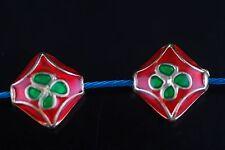 10Pcs Charm Enamel Beads Flowers Loose Bead Jewelery Craft Makings 12mm