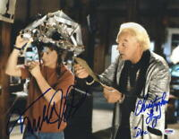 MICHAEL J FOX CHRISTOPHER LLOYD SIGNED BACK TO THE FUTURE 11X14 PHOTO PSA LOA I