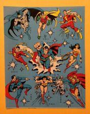 VTG 80s 1982 DC COMICS Sticker Sheet~SHAZAM~Superman~BATMAN~Wonder Woman~ROBIN