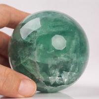 519g 67mm Natural Green Fluorite Quartz Crystal Sphere Healing Ball Chakra Decor