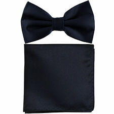 New formal men's pre tied Bow tie & Pocket Square Hankie solid navy blue wedding