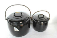 Enamel Cooking Pot Black 2 Pc Vintage Kitchenware Home Decor PY-62