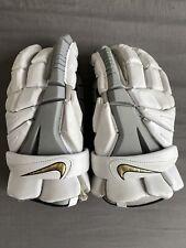 "Nike Vapor Elite White/Grey Lacrosse Gloves Leather Palm Sz Medium M 12"""